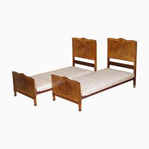 Burr & Burl Walnut Single Beds with Silk Bases, 1940s, Set of 2