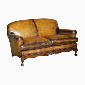 Victorian Walnut & Brown Leather Sofa with Claw & Ball Feet, 1880s