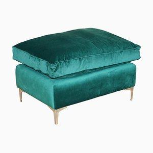 Poggiapiedi o panca grande in velluto verde smeraldo