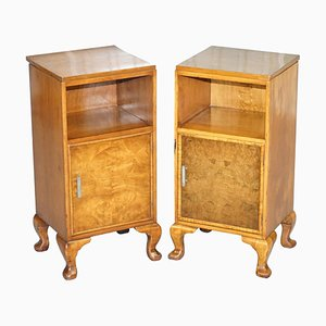 Burr Walnut Bedside Cupboards or Lamp Tables from Waring & Gillows, 1932, Set of 2