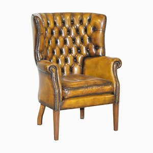 Vintage Chesterfield Porter's Wingback Armchair in Brown Leather