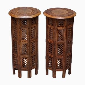 Tall Syrian Hand Carved Hardwood Side Tables from Liberty, 1900s, Set of 2