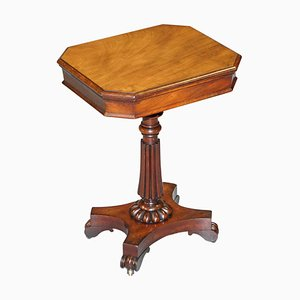 Antique William IV Flamed Hardwood Side Table with Single Drawer, 1830s