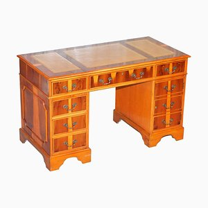 Partner-Schreibtisch aus Wurzel-Eiben-Holz mit Doppelsockel und geteilter Lederplatte