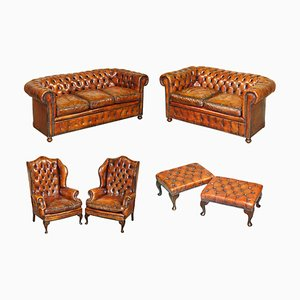 Victorian Brown Leather Chesterfield Sofa, Armchairs & Stool Suite, Set of 6