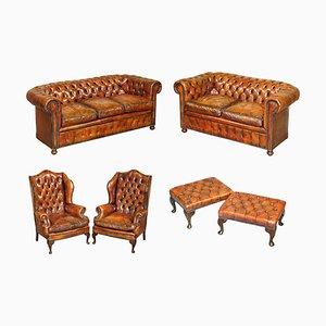 Viktorianisches Chesterfield Sofa aus braunem Leder, Sessel & Hocker, 6er Set