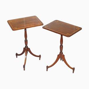 Vintage Regency Style Flamed Walnut & Inlaid Tripod Side Tables, Set of 2