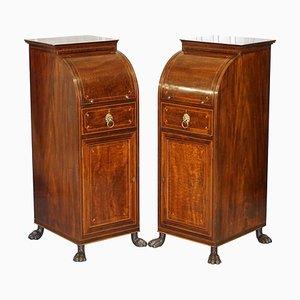 Antique Regency Flamed Hardwood & Gilt Bronze Drinks Cabinet Pedestals, Set of 2