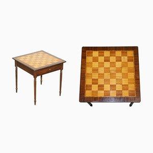 Table de Jeux Vintage en Noyer Incrusté et en Bois Dur avec Échiquier et Tiroir