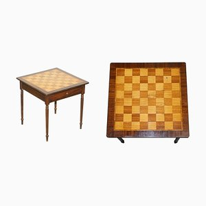 Vintage Inlaid Walnut & Hardwood Game Table with Chessboard & Drawer