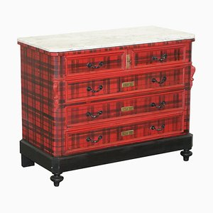 Victorian Chest of Drawers with Scottish Tartan Wrap & Marble Top