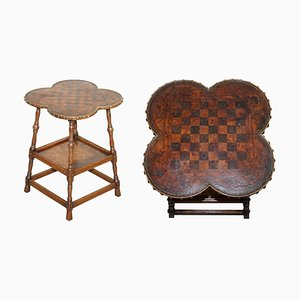 Victorian Hand Dyed Leather & Oak Game Table with Battle Scene Chess Board, 1890s