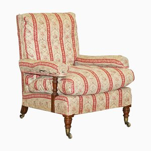 Victorian Lenygon & Morant Open Armchair in Ticking Fabric from Howard & Sons, 1920s
