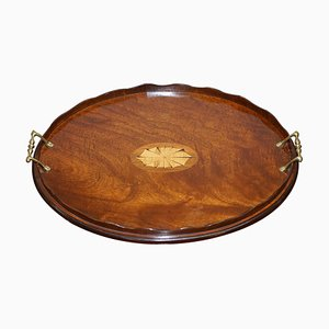 Antique Victorian Sheraton Inlaid Butler's Serving Tray in Walnut & Bronze
