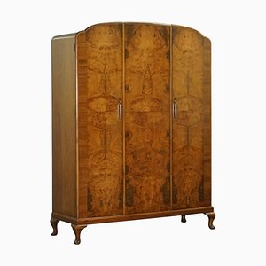 Burr Walnut Triple Bank Wardrobe with Mirror from Waring & Gillows, 1932