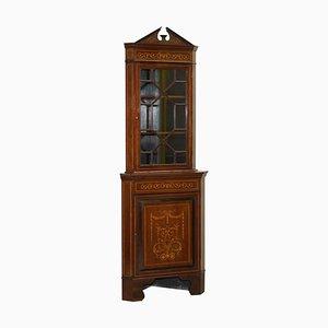 Antique Dutch Sheraton Astral Glazed & Inlaid Corner Bookcase