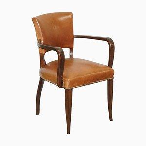 Brown Leather & Hardwood Bridge Armchair from George Smith