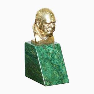 18K Gold Miniature Bust of Winston Churchill by Oscar Nemon for Asprey & Co, 1967