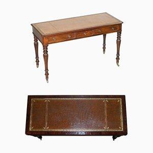 Viktorianischer Schreibtisch mit brauner Lederplatte von Gillows