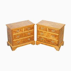 Burr & Burl Walnut & Elm Bedside Chests of Drawers, Set of 2