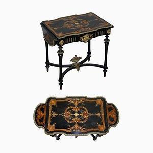 19th Century Louis Philippe Ebonised & Inlaid Bronze Extending Table