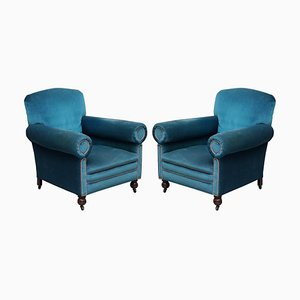 Victorian Napoleonic Blue Velvet Armchairs with Bolster Arms from Maple & Co, Set of 2