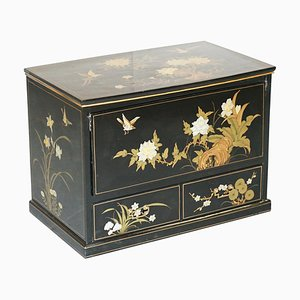 Vintage Chinese Chinoiserie TV Media Stand in Black Lacquered Paint with Bird & Flowers