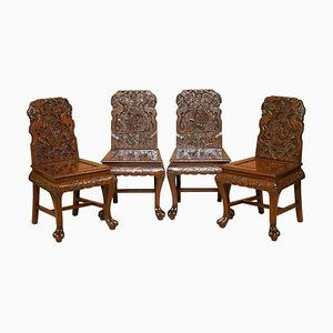 Chinese Ornately Carved Dragon Dining Occasional Chairs, 1900s, Set of 4