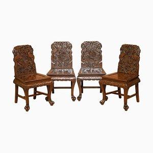Chinesische Esszimmerstühle mit Ornamenten aus geschnitztem Drachen, 1900er, 4er Set