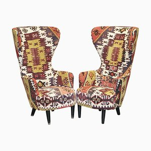 Kilim Wing Back Armchairs by Tom Dixon for George Smith, 2007, Set of 2