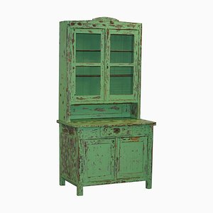 Victorian Hand-Painted Distressed Green Dresser Bookcase or Kitchen Cupboard