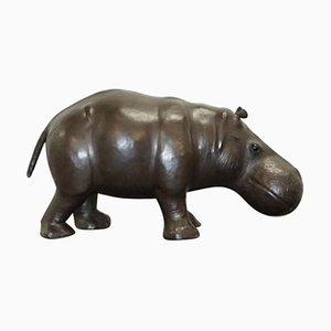 Großer brauner Omersa Hippo Lederhocker oder Fußhocker von Omersa, 1930er