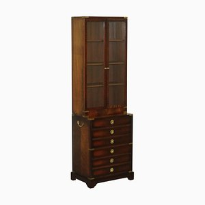 Military Campaign Hardwood & Brass Bookcase Chest of Drawers from Kennedy