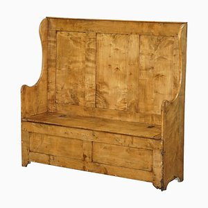 Victorian Satinwood Settle Bench or Pew with Internal Storage