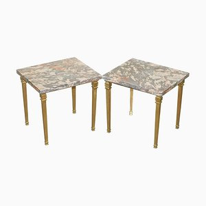 Gold Gilt Bronze Side Tables with Thick Heavy Purple Marble Tops, Set of 2