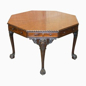 Victorian Georgian Occasional Library Table with Lion Carvings from Druce & Co