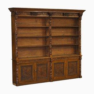 Libreria antica vittoriana in quercia intagliata a mano