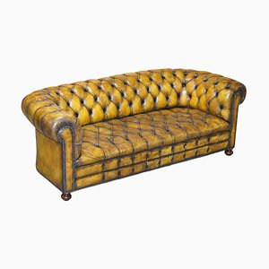 Art Deco Hand Dyed Whisky Brown Leather Chesterfield Tufted Sofa,1920s