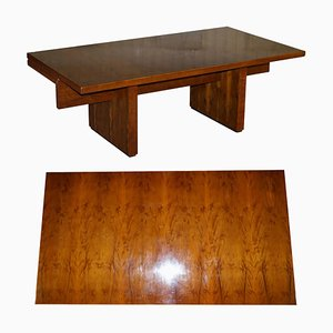 Very Large Burr Yew Wood Office Desk with Timber Patina