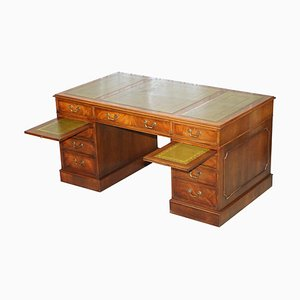 Large Hardwood & Green Leather Partner Desk with Twin Butlers Serving Trays