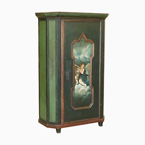 Swedish Hand-Painted Green Hall or Pot Cupboard Wardrobe with Musical Deco, 1800s