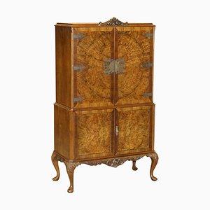 Art Deco Drinks Cabinet with Exquisite Burr Walnut Panels & Cabriole Legs