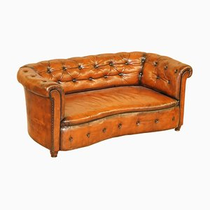 Regency Serpentine Hand Dyed Whisky Brown Leather Chesterfield Sofa