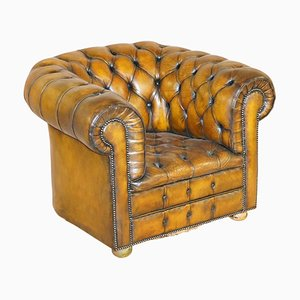 Art Deco Hand Dyed Brown Leather & Fully Buttoned Chesterfield Club Armchair
