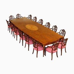 Large Hardwood & Walnut Dining Table & Hepplewhite Armchairs from Sheraton Revival, Set of 17