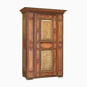 European Sumlime Hand-Painted Wardrobe or Hall Cupboard in Oak Wood, 1800s