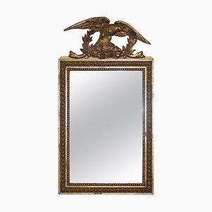 Regency Gilded Gesso Mirror with Large Hand Carved Eagle, 1800s