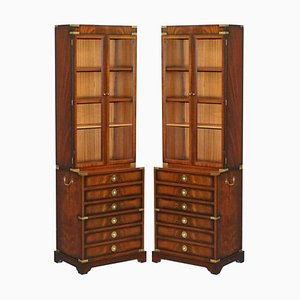 Military Campaign Hardwood Bookcase & Chest of Drawers from Kennedy Furniture, Set of 2