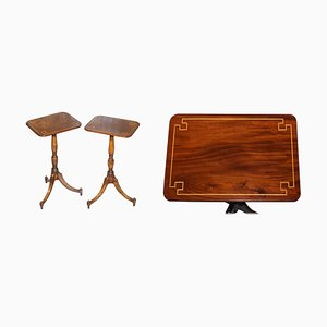 Antique Regency Style Flamed Walnut & Inlaid Tripod Side or End Lamp Tables, Set of 2