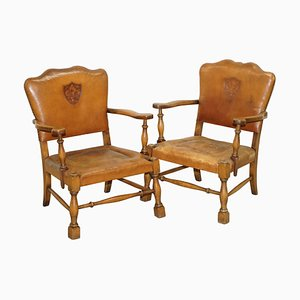 Edwardian Oak & Brown Leather Coat of Arms Armorial Crest Smart Club Armchairs, Set of 2